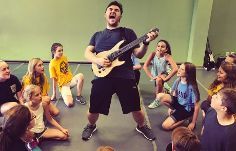 Jonathan McInnis as Dewey Finn in School of Rock at The Acting Studio - Rehearsal Picture